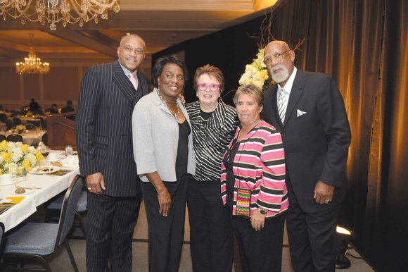 Olympic track and field medalists and civil rights advocates Tommie Smith and John Carlos were honored Saturday with the Joe ...