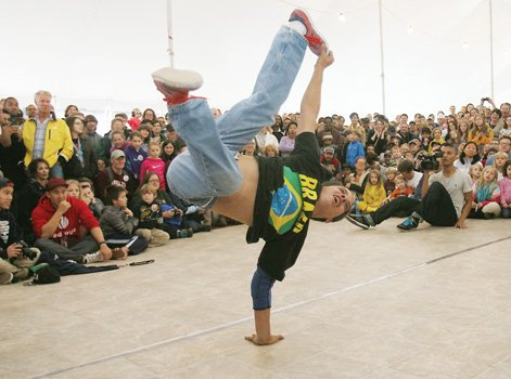 Eddie Hoffman wows the crowd with his moves at the Thrown Down on Brown break dancing competition.