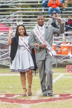 Mr. and Miss VUU, Wesley Arthur and Tiera Sedden, are introduced during the homecoming football game against Lincoln University.
