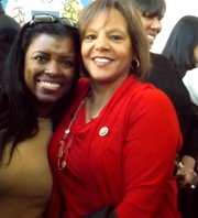 L-R City of Chicago Treasurer, Stephanie Neely and U.S. Congresswoman Robin Kelly, (Dist.-2nd) seen here at a press conference to announce her replacement as Treasurer. Neely is leaving Chicago Mayor Rahm Emanuel's administration Nov. 30 to work in the private sector.
