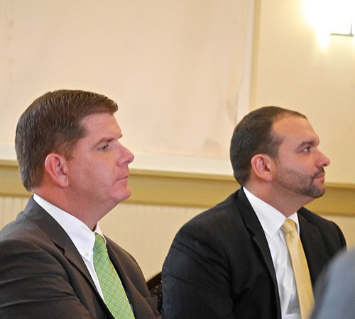 Mayor Martin Walsh and Health and Human Services Chief Felix G. Arroyo at a summit on lead poisoning held by the city's Office of Fair Housing and Equity. (Banner photo)