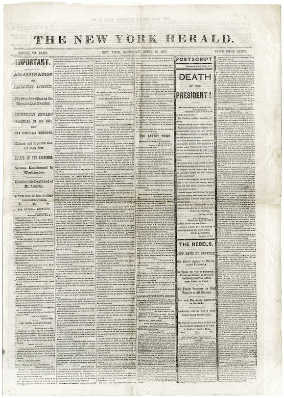 Newseum Exhibit Will Display Rare 1865 Editions of The New ...