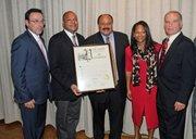 Principal Gerald Martori, Assemblyman Karim Camara, honoree Martin Luther King III, Nikki Barjon and coach Ron Naclerio