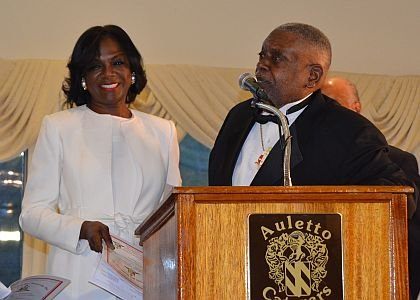 Elleanor Jean Hendley, Mistress of ceremonies, left, with Burlington-Camden Kappa Community Development Corporation President Richard A. Williams.