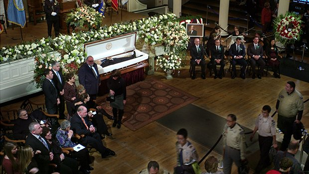 Boston residents and local and national officials paid last respects to Mayor Thomas Menino at Faneuil Hall on a cold, snowy Sunday. Menino was Boston's longest-serving mayor.