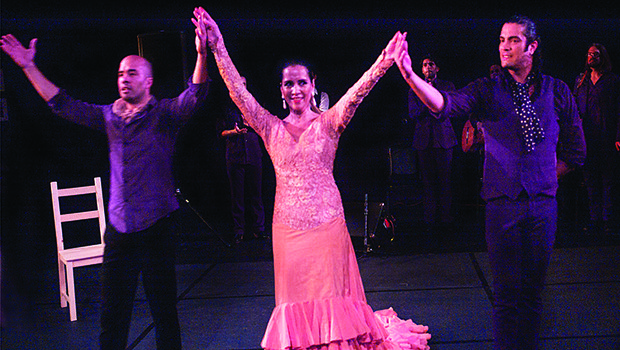 Clara Ramona is joined by her two sons Nino (l) and Isaac at the conclusion of their performance at the Tribute to Ramon de los Reyes held in the Dance Complex in Cambridge. Ramon's son Nino organized the event bringing his brother Isaac and many well known flamenco dancers, singers and guitarist to perform to a sold out audience.