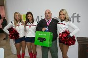 Customers took full advantage of the great deals for the opening of the new Microsoft store. Houston Texans cheerleaders came out to the event to help celebrate.