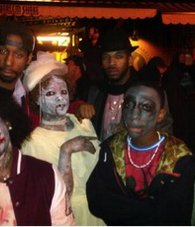 """Thriller"" flash-mob in front of the Harlem Shake restaurant on Lenox Avenue. 2014"