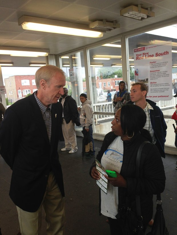 In this photo taken on Sept. 15, governor-elect Bruce Rauner, makes a  campaign stop to greet potential voters at the 95th & Dan Ryan bus/train terminal. Bruce Rauner defeated incumbent governor, Pat Quinn, by a margin of 7% or roughly 49,000 votes according to the Cook County Clerk's office as of Nov. 10.