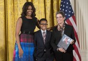 First Lady Michelle Obama, Ajani Boyd, Mary Jaffee.