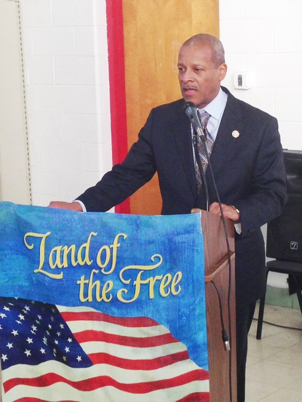 Villageof Hazel Crest Mayor Vernard Alsberry, a 10 year U.S. Air Force veteran, offered his remarks at the Village of Hazel Crest's Veteran Commission's Veterans Day program on Nov. 8 at the Hazel Crest Municipal Center, 3000 W. 170th Place, Hazel Crest, Ill.