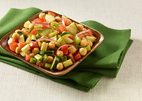 This recipe for chickpea salad is low in sodium, but high in fiber and protein.