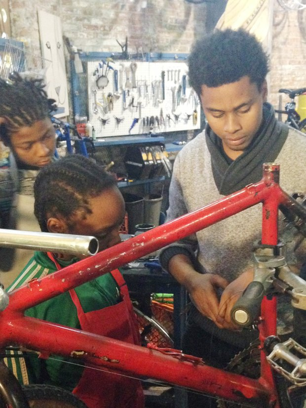 Jamel Trig is a full-time mentor/repairman/mechanical instructor at the Experimental Station's, 6100 S. Blackstone Ave., Blackstone Bicycle Works Program (BBWP).  The bike shop is dedicated to promoting ecological practices and empowering youth, teaching mechanical skills, job skills, and business literacy to boys and girls from the underserved Woodlawn neighborhood and Chicago's broader south side.