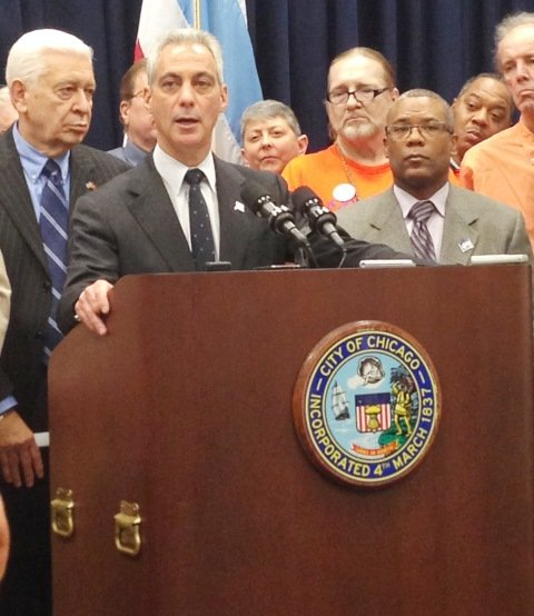 L-R: Ald. Ray Suarez (31st Ward), Chicago Mayor Rahm Emanuel and Alderman Walter Burnett (27th Ward) addressed the media at a press briefing held at Chicago's City Hall, 121 N. LaSalle St., on Nov. 12, 2014 to announced the passing of the Single-Room Occupancy and Residential Hotel Preservation Ordinance which preserves affordable-single room occupancy (SRO) buildings and establishes the legal framework to generate revenue to support building owners.