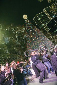 Virginia Commonwealth University's pep band, The Peppas, rock the crowd during the Grand Illumination.