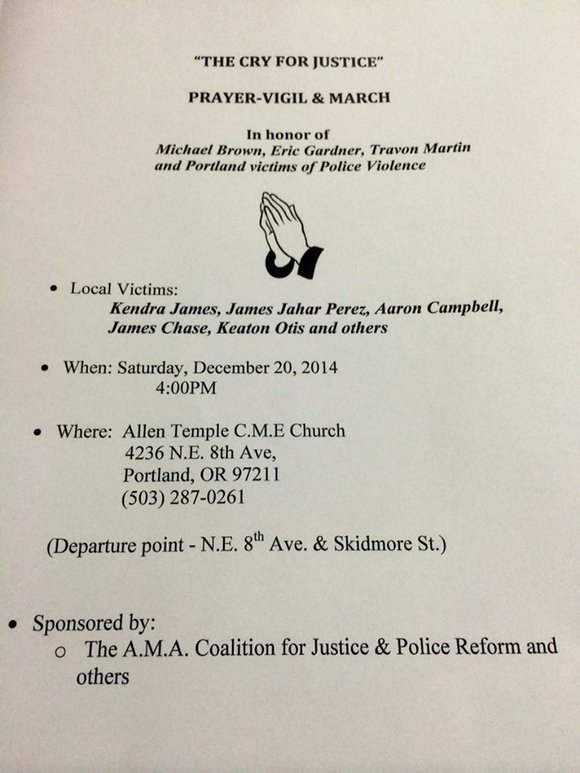 The Albina Ministerial Alliance for Justice and Police Reform will lead a prayer vigil and protest march through north and ...
