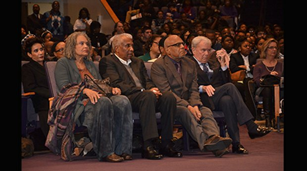The 2014 honorees – Charlayne Hunter-Gault, International Freedom Award; Frank Robinson, Lifetime Achievement Freedom Award for Sports; Robert Parris Moses, National Freedom Award; and Tom Brokaw, Lifetime Achievement Freedom Award for Journalism – at the Public Forum held at Temple of Deliverance C.O.G.I.C. (Photo: Tyrone P. Easley)