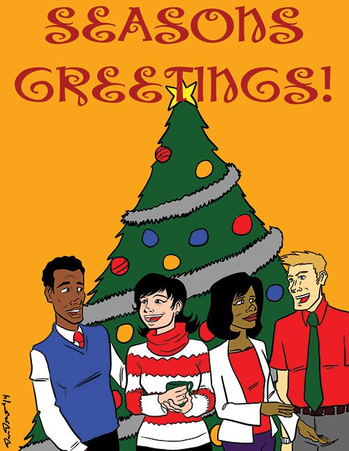 """""""Season's greetings from the staff of the Bay State Banner."""""""