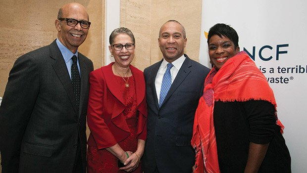 Dr. Susan Windham-Bannister (2nd from left) with (l-r) UNCF CEO Dr. Michael Lomax, Governor Deval Patrick and UNCF Area Development Director Lois Smith.