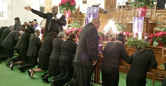 Congregants in African American churches across the country wore black to Sunday services and prayed over the men in attendance ...
