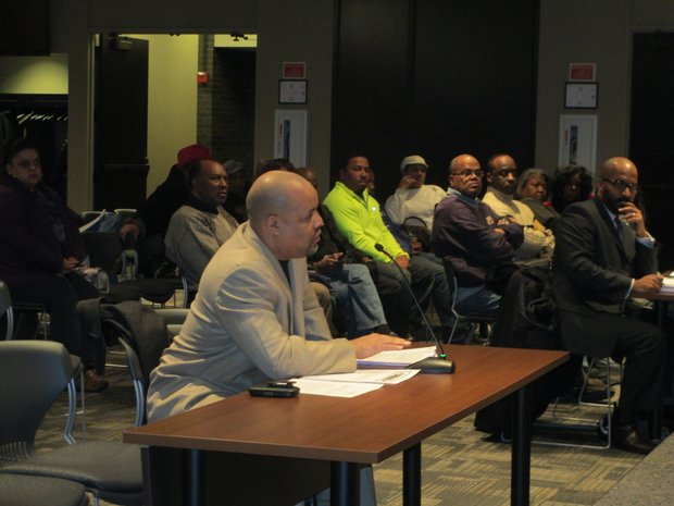 James Foster, a candidate for Joliet City Council in District 4, addresses the Joliet Electoral Board about his allegations that Councilwoman Bettye Gavin illegally collected nominating petitions at an nonprofit agency.