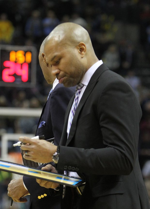 Former NBA star and now New York's head coach Derek Fisher, who grew up in Little Rock, had a tough coaching assignment against Memphis Monday Night at the FedExForum. The Grizzlies blewout the shorthanded-Knicks 105 to 83. (Photo: Warren Roseborough)