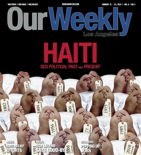 As wars and revolutions continued to claim lives of Haitians, this cover was created to depict a makeshift morgue, which are common in existence in Haiti.