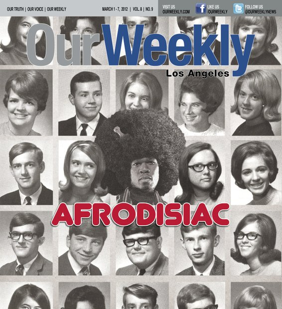 "OW took 50 Cent, gave him a ""super fro"" and put him right in the middle of a Nebraska High School yearbook from the 1960s. We readjusted the eyes on a few of the female 'classmates' and it made the history of the Afro cover story a classic."