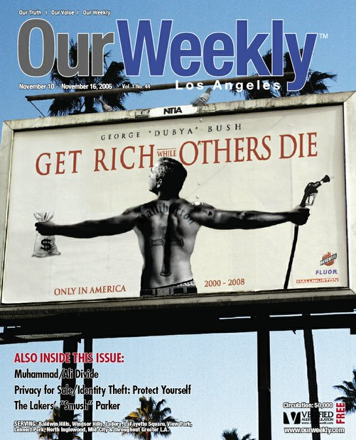"During the Vietnam War, the defense industry grew and prospered while Black ghettos suffered. In this issue, the Iraq war created the same social dynamics. At this time, community activists were ""raising hell"" about a new movie ""Get Rich or Die Trying"" starring Curtis Jackson. This cover has George Bush fashioned after rapper 50 Cent.This cover went viral, receiving repsonses from as far away as Japan. Corporate logos were added to represent Fortune 500 companies that were profiting from the war. The defecating pigeon was added for humor."