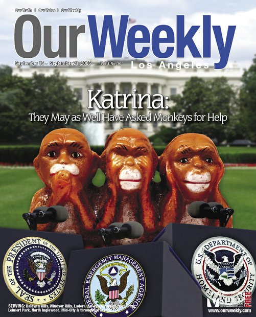 "A meeting was held in our publisher's office to discuss the issue of how the federal government's handling of Katrina was a complete blunder. Once the publisher gave direction on editorial content, author William Covington removed a paper weight fashioned after ""three wise monkeys"" from the publisher's desk and said, ""I have our cover."""