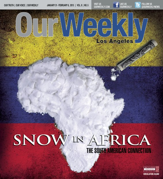 "The African continent became a logistical staging area for South American cocaine prior to its destination ""Western Europe."" This cover was designed during a live simulcast on Facebook. A cardboard cutout of Africa and a box of baking soda were used to create the image, Facebook friends were asked about the concept and a  person of African heritage living in Spain guessed it."