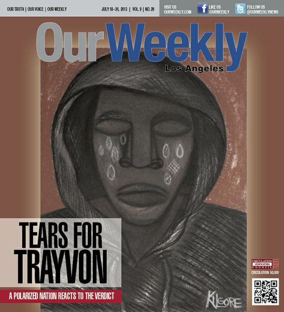 Trayvon Benjamin Martin, the 17-year-old African American boy from Miami Gardens, Florida who was fatally shot by neighborhood watch volunteer George Zimmerman, and the trial which followed, sparked outrage and fueled race tension nationwide. This artwork by Michael Kilgore represented the emotional state of much of the Black community, and those sympathetic to our struggle.