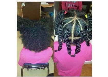 Blogger Vernessa Cole posted before and after photos of a little girl's hair to illustrate a post about a teacher ...