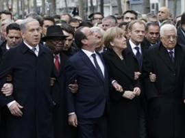 Close to 4 million people joined a historic march in Paris, France, Sunday to show sympathy for the 12 fallen ...