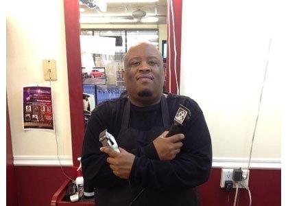 Monzy Lee Faulkner, Jr., owner of All In His Hands Barbershop in Pasadena and Rev. Dr. Carletta Allen, pastor of ...