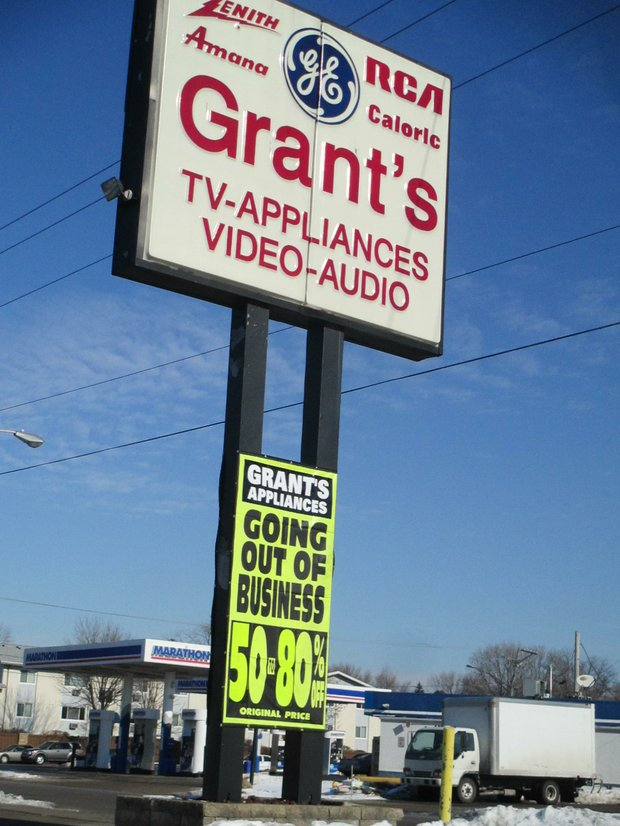 A liquidation sale at Grant's Appliances on Republic Avenue in Joliet is under way.
