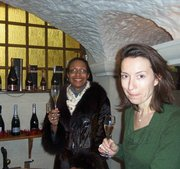Baltimore native Gyl Golden (left) samples champagne in Hautvillers at the Gobillard Champagne House in France.