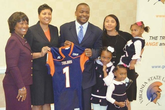 "Byron Douglas Thweatt says becoming the head football coach at Virginia State University is ""like coming home."""