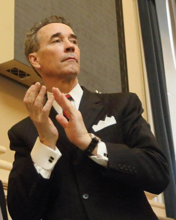"""Henrico Delegate Joseph D. """"Joe"""" Morrissey joins in applauding visitors Wednesday to the General Assembly. He is facing potential sanctions from his colleagues in the House as the result of his conviction last month of contributing to the delinquency of a minor."""