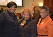 Lisa Williams of Willingboro (left), Faye Reese-Clark of Gloucester Township, and Rev. Dr. Natalie P. Alford, senior pastor of Trinity AME Church in Middletown Del., enjoy the 29th annual Martin Luther King, Jr. Scholarship Breakfast at Rowan University.