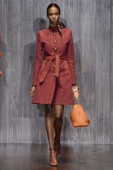 Pantone's color of the year, marsala, made an appearance in several looks from Gucci at the label's Spring Summer 2015 fashion show during Milan Fashion Week.