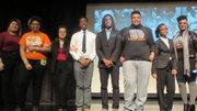 The Baltimore Urban Debate League: (Left to right) Maria Cedillo, Rejjia Camphor, Katie S. Arevalo, Jared Bey, Matthew Boykin-Derrill, Wayne Von Young Jr., Tanesha Blackledge and team advisor Trinya Smith.