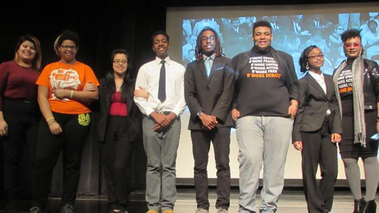 The Baltimore Urban Debate League: (Left to right) Maria Cedillo, Rejjia Camphor, Katie S. Arevalo, Jared Bey, Matthew Boykin-Derrill, Wayne Von Young Jr., Tanesha Blackledge and team advisor Trinya Smith.
