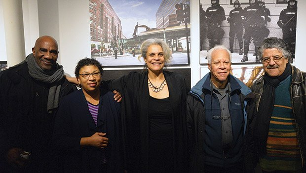 Photographers, Hakim Raquib, Keitha 'Llyn' Hassell, Lou Jones, and Don West joined, Lolita Parker, Jr at the opening of her latest show, The New West Enders and Other Green Monsters, at the West End Museum.