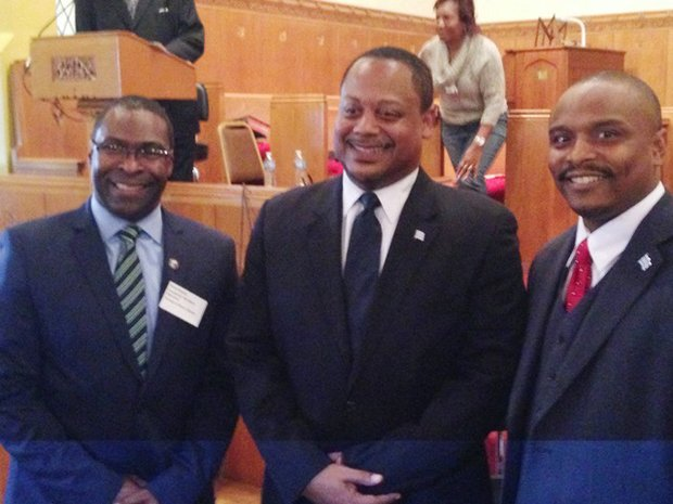 L -R  Brian Garner, Ald. Roderick Sawyer and Richard Wooten at the Greater Chatham Alliance's (GCA) aldermanic forum.