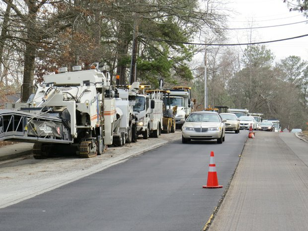 Roads and Drainage crews are milling, removing and replacing areas of pavement on Rainbow Drive with no set time line to complete the project.