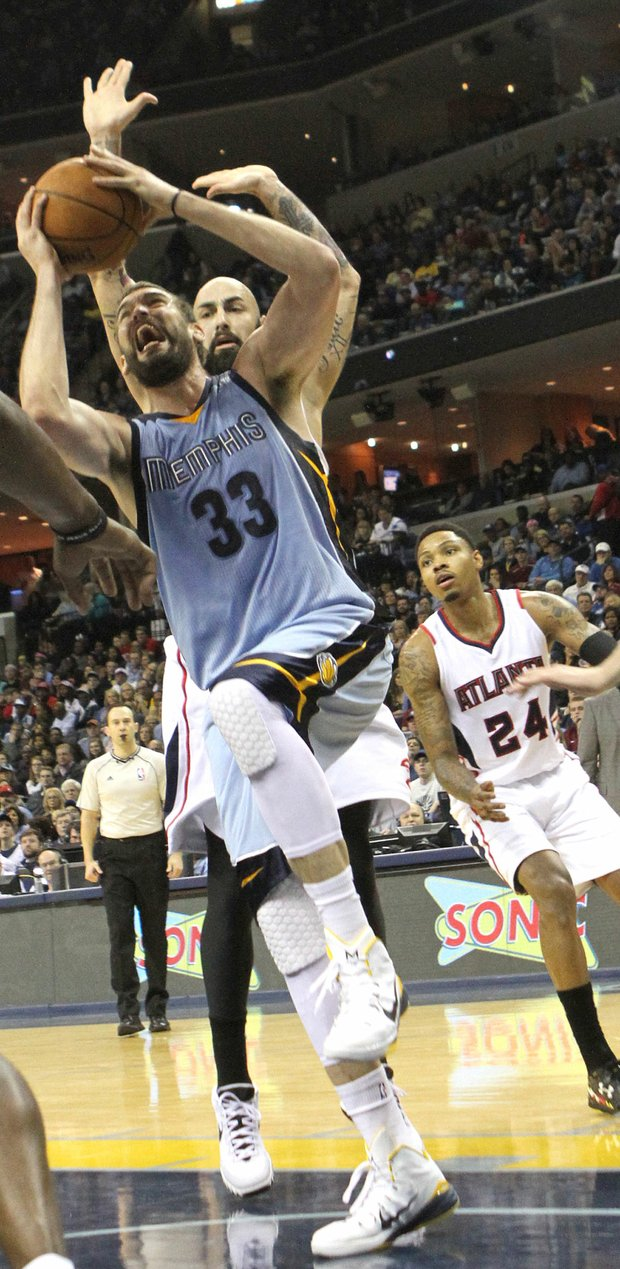 Marc Gasol, who scored 16 points and racked 10 rebounds, is fouled going strong to the basket. (Photo: Warren Roseborough)
