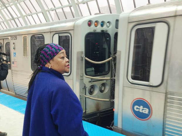 Local neighborhood resident Gloria Jhonson began her daily commute using the new green line CTA station at 16 E. Cermak Rd.
