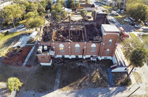 The shell of the burned out New Salem Missionary Baptist Church in Tampa, Fla., remains standing after being heavily damaged by an early morning fire Feb. 2. The church, led by Dr. Henry J. Lyons, has faced recent financial difficulty.