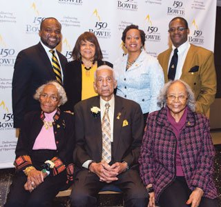 Back row, left to right: BSU Director of Regional Giving Darren Swain ('93, '95), Estelle Johnson ('65, '75), BSU Director of Alumni Relations and Annual Giving Rosalind Muchiri ('03), and Clarence Mollock ('72) _(front row, left to right): Beatrice Payne ('28), J. Sidney Sheppard ('47), and Essie Banks ('48).